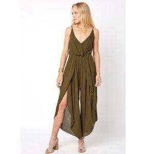 Juniper Blu Split Leg Olive Jumpsuit Size XS